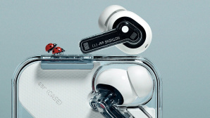 Transparente Nothing-Kopfhörer im Ladecase mit zwei Marienkäfern©Nothing