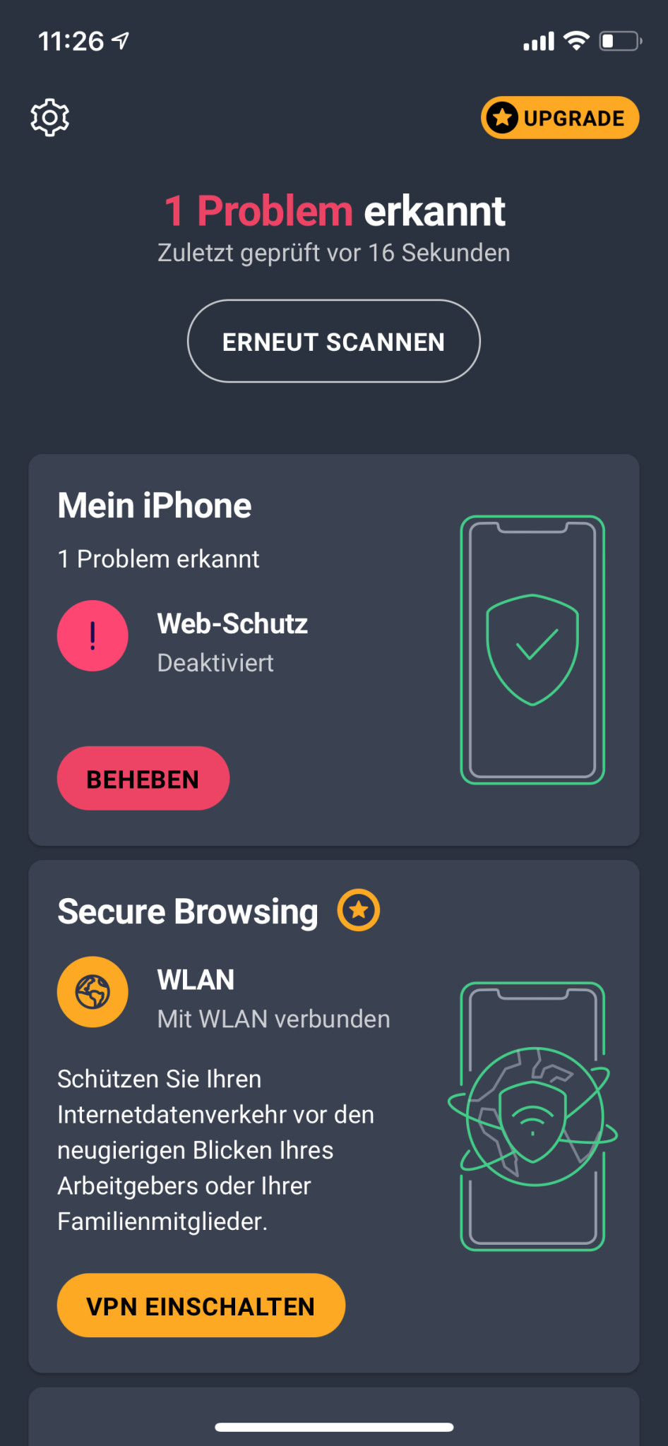 Screenshot 1 - AVG Mobile Security (App für iPhone & iPad)