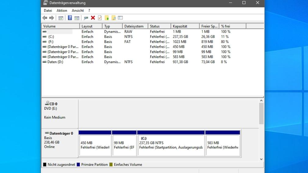 Dual Boot: Windows-10-Tutorial für mehrere installierte Betriebssysteme parallel Die Datenträgerbereinigung ist ein meist zuverlässiger Helfer im Hinblick der HDD-/SSD-Partitionierung.