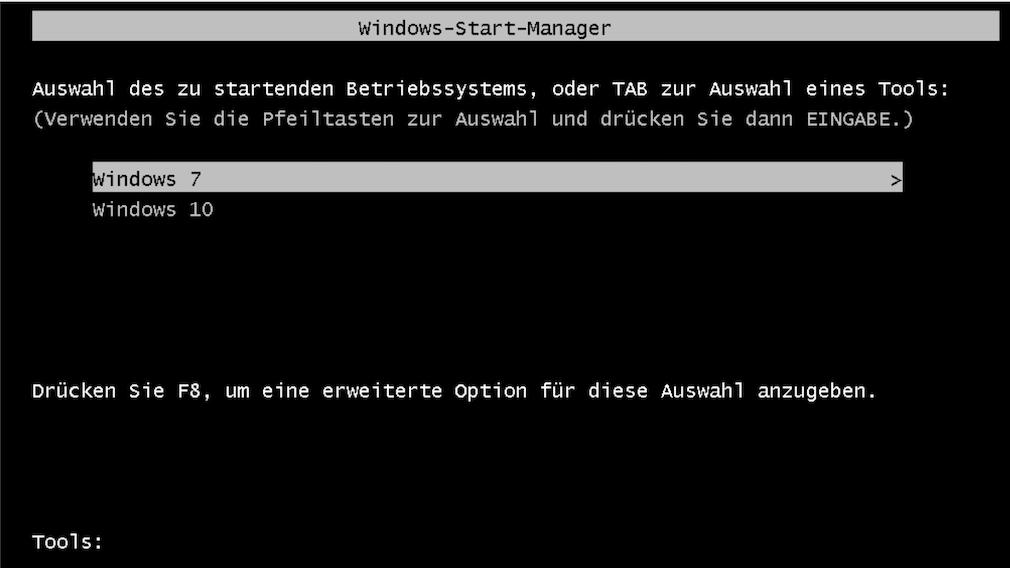 Dual Boot: Windows-10-Tutorial für mehrere installierte Betriebssysteme parallel So sieht ein klassisches Windows-Bootmenü vor der Windows-8-/-10-/-11-Ära aus. Hier bietet es Windows 7 und Windows 10 zum Hochfahren an.