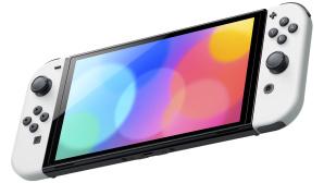 Die Nintendo Switch (OLED Modell) vor weißem Hintergrund.©Nintendo