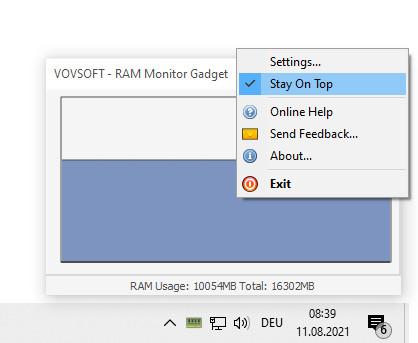 Screenshot 1 - RAM Monitor Gadget Portable