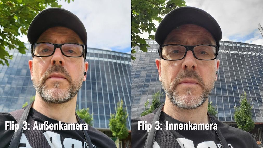 Selfie mit Innen- und Außenkamera im Vergleich