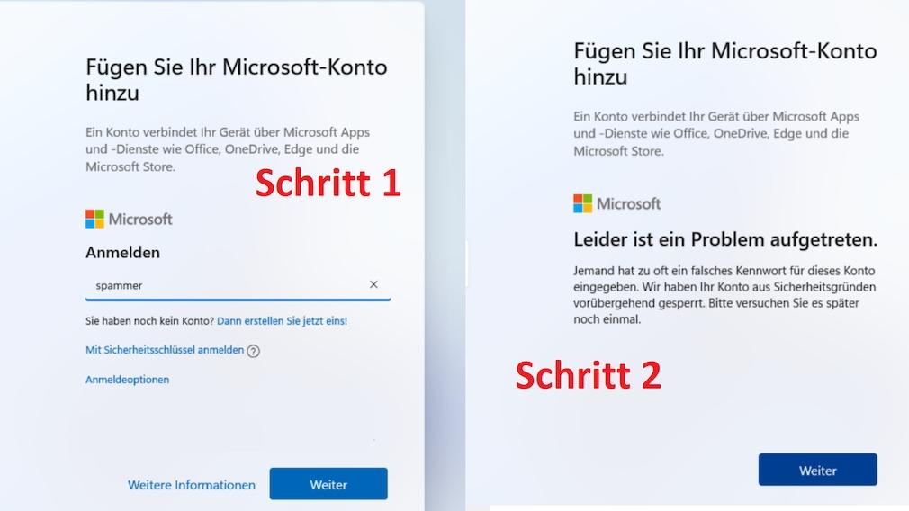 """Windows 11 ohne Microsoft-Konto installieren: So tricksen Sie den Installer aus Nach Eintippen eines Dummy-Benutzernamens (siehe linken Teil des Bilds) erscheint der rechts gezeigte Bildschirm. Hier ist einmal auf """"Weiter"""" zu klicken, schon lässt sich ein lokaler Account anlegen."""