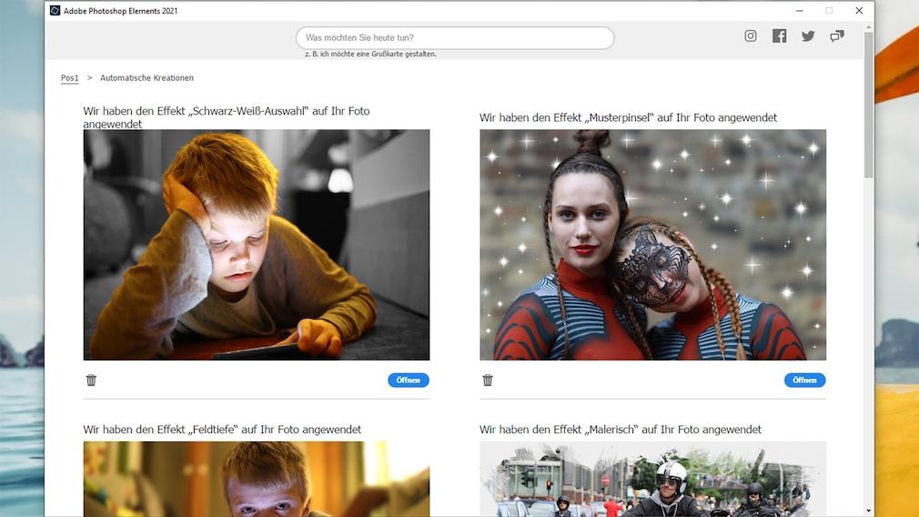 Adobe Photoshop Elements 2021 Automatische Kreationen