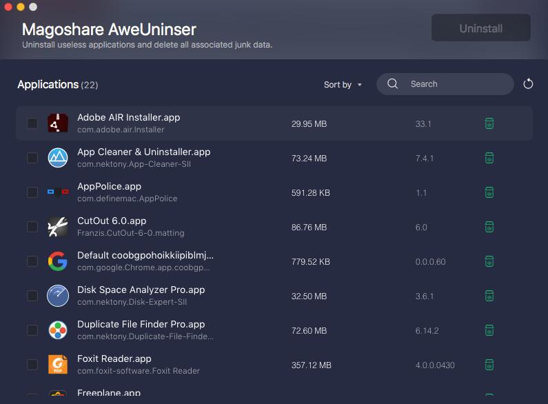 Screenshot 1 - AweUninser (Mac)