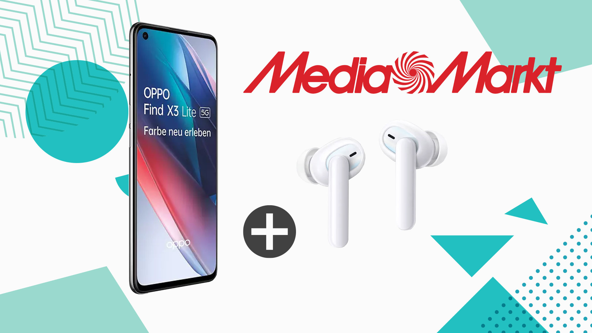 Oppo-Set bei Media Markt: Find X3 Lite 5G und In-Ears Enco W51 für unter 370 Euro