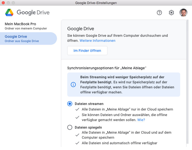 Screenshot 1 - Google Drive für Desktop (Mac)