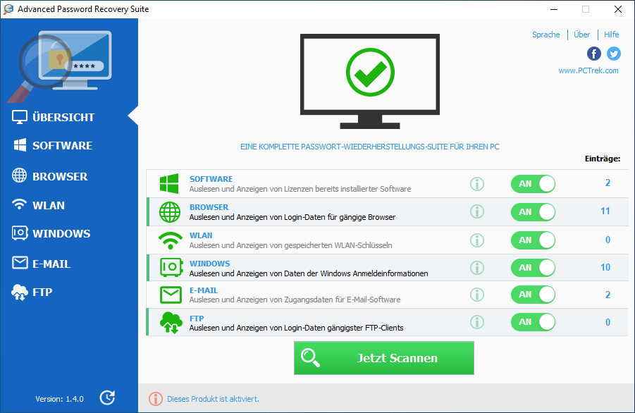 Screenshot 1 - Advanced Password Recovery Suite – Kostenlose Vollversion für 1 Jahr