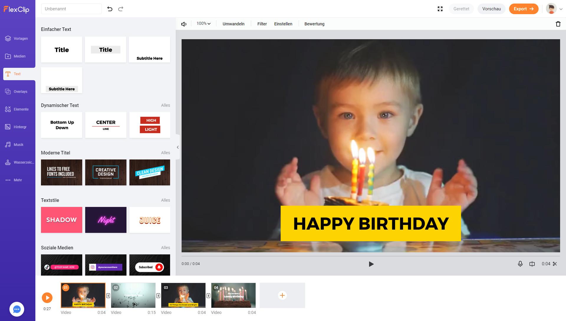 Screenshot 1 - FlexClip Video Maker Basic – Kostenlose Vollversion für 1 Jahr