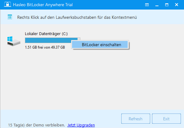 Screenshot 1 - Hasleo BitLocker Anywhere