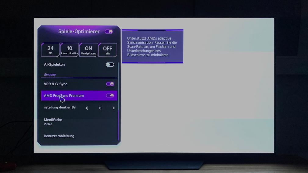Das Spiele-Optimierer-Menü erlaubt die Wahl der VRR-Varianten G-Sync und Freesync.