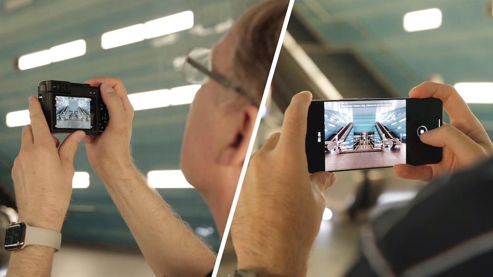 Kamera gegen Smartphone Überseequartier