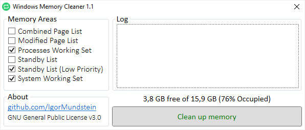 Screenshot 1 - Windows Memory Cleaner