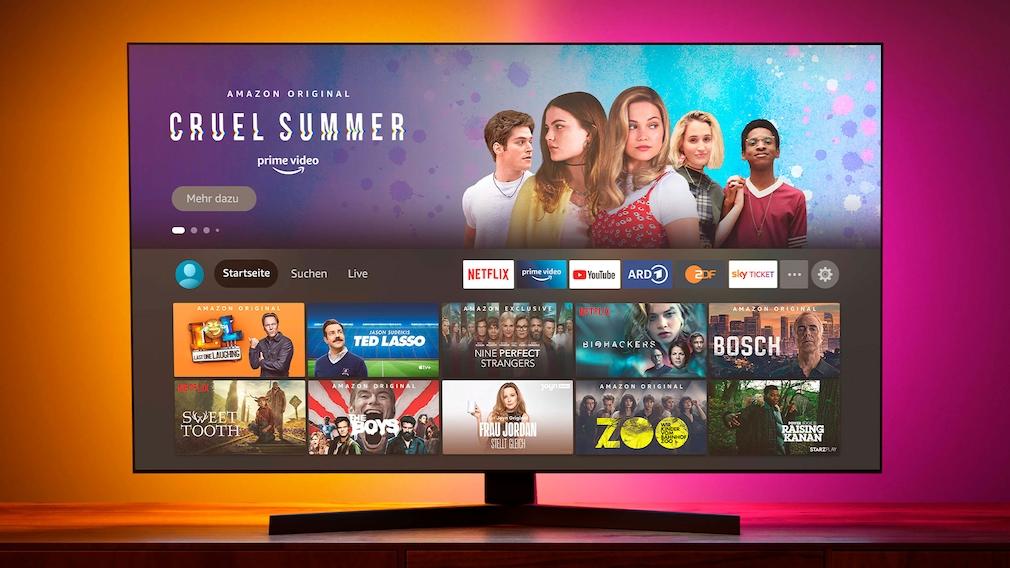 Fire-TV-Oberfläche auf einem Fernseher