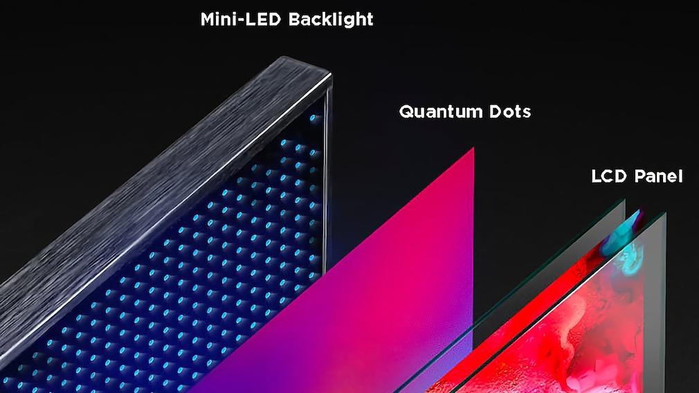 Beim Mini-LED-TV TCL C825 durchleuchten unzählige kleine LEDs das LCD-Panel, die Quantum-Dot-Folie dazwischen verbessert die Farben.