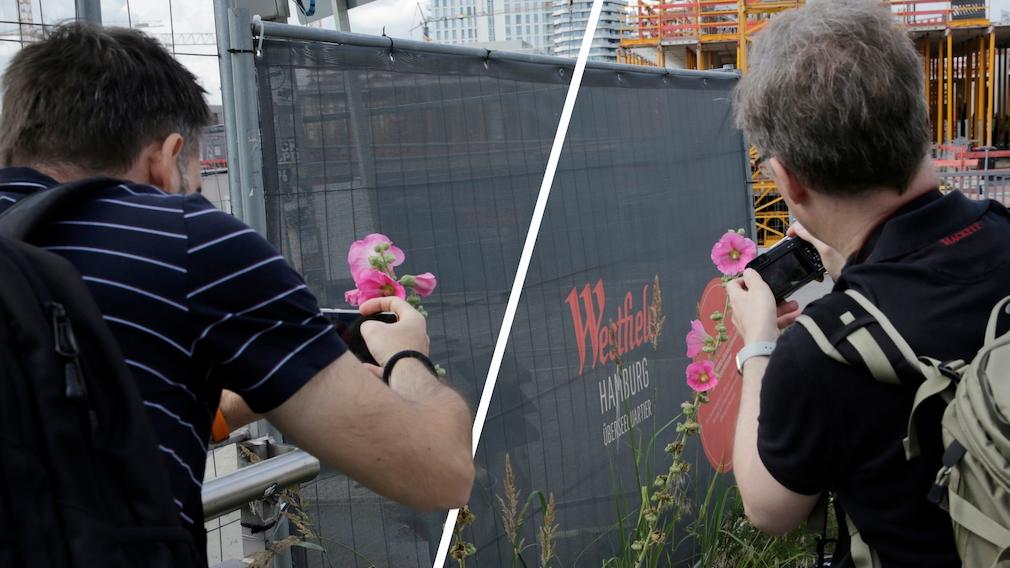 Kamera gegen Smartphone Nahaufnahme