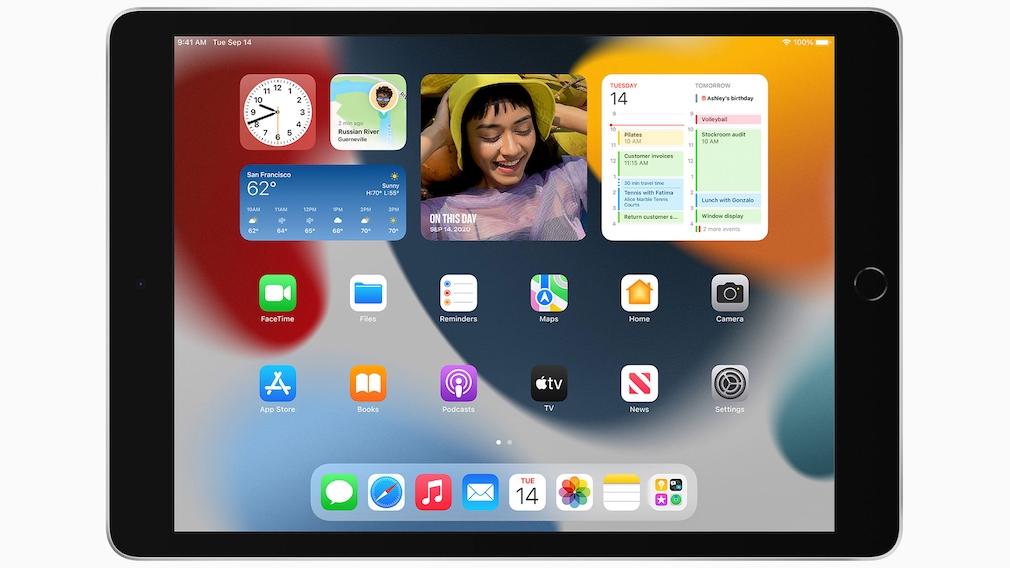 iPad vor grauem Hintergrund.