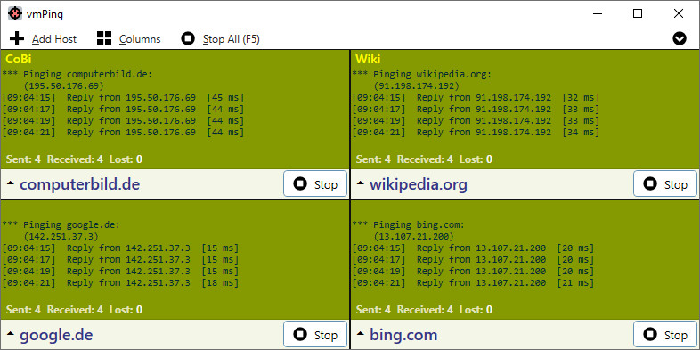 Screenshot 1 - vmPing