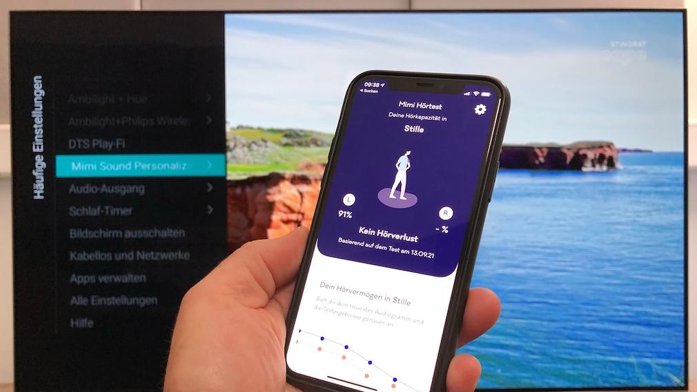 Beim Philips OLED806 verbessert die Mimi-App die Sprachverständlichkeit, in der Smartphone-App erfolgt dazu ein Hörtest.