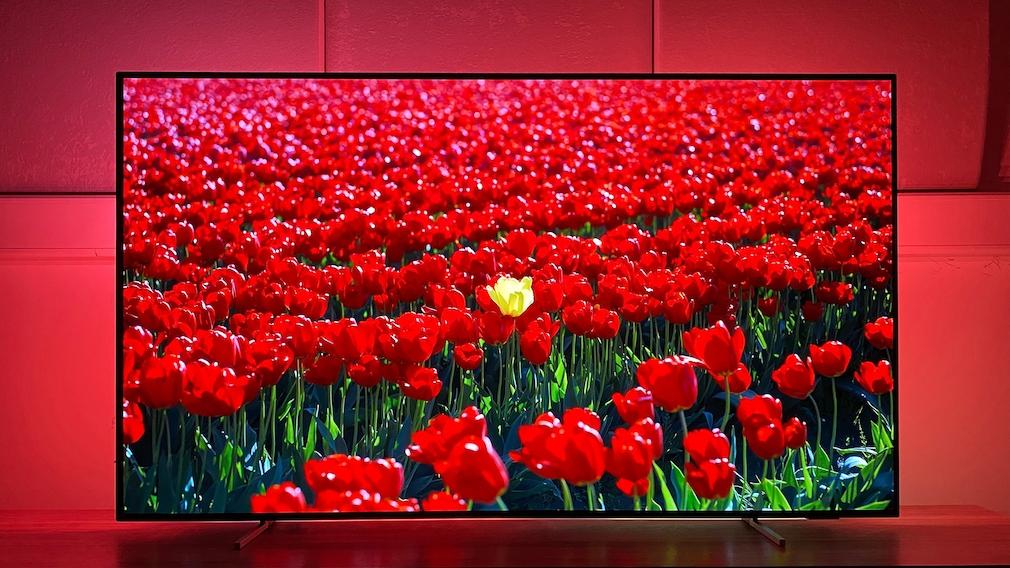 Ob Tulpen oder Tomaten, die Farbwiedergabe des Philips OLED806 ist überragend.