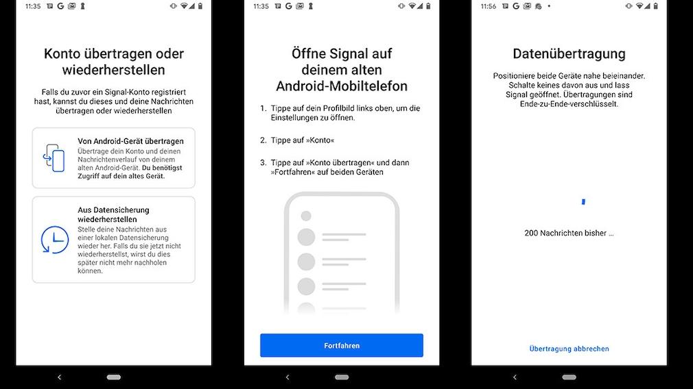 Signal von Android zu Android