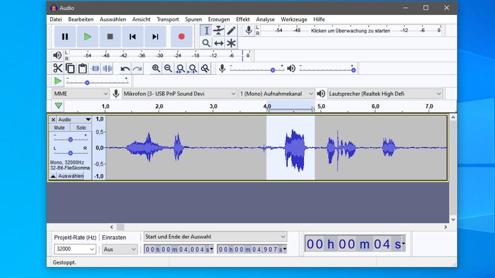 Audacity: Piepsen einfügen – so geht es per Sinus-Ton und mit DTMF-Tönen Zu Beginn markieren Sie die Stelle, die Sie unhörbar machen möchten. Das gesamte Prozedere wiederholen Sie, je nach Anzahl der unerwünschten Stellen.