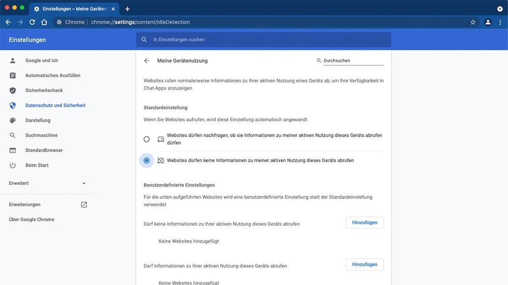 Screenshot: Chrome-Einstellunge Idle