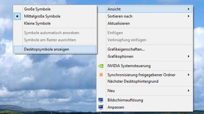 Bordmittel-Scherze: Desktopsymbole ausblenden ©COMPUTER BILD