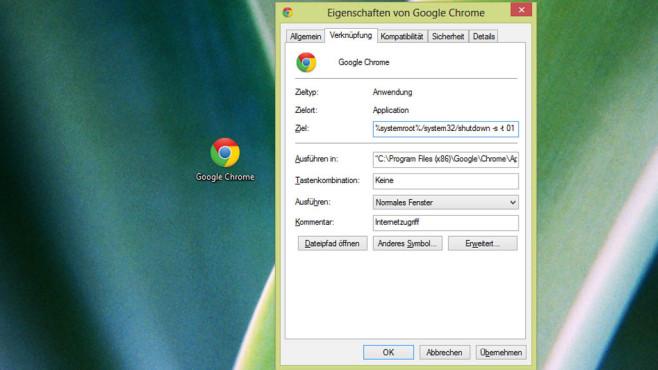 Verknüpfung manipulieren, sodass Windows herunterfährt ©COMPUTER BILD