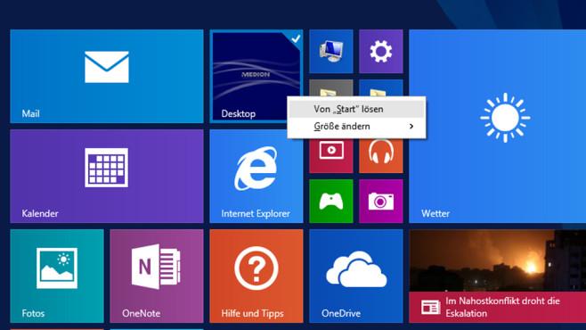 Windows 8: Desktop-Kachel löschen ©COMPUTER BILD