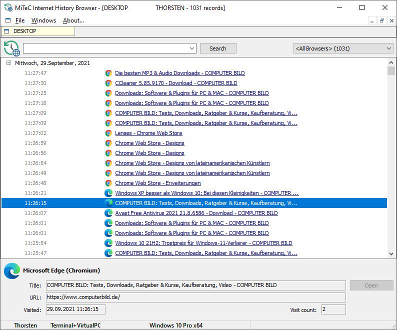 Screenshot 1 - MiTeC Internet History Browser