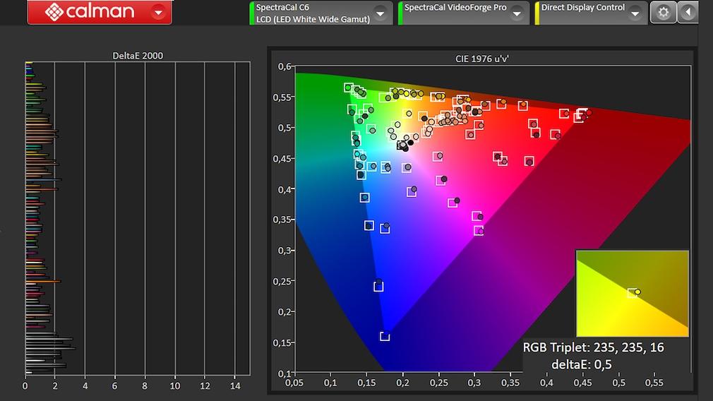 Beim Test mit der Software Calman von Portrait Displays setzte der LG QNED999PB Maßstäbe mit vorbildlich geringen Farbabweichungen
