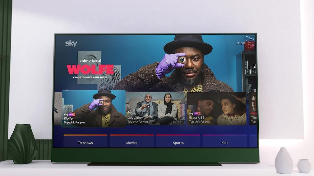 Nach dem Einschalten zeigt Sky Glass übersichtlich die Programmempfehlungen – nicht nur von Sky-Sendern.