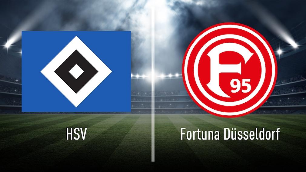 Rauten-Wappen vom HSV und Logo von Fortuna Düsseldorf auf grünem Rasen der 2. Liga