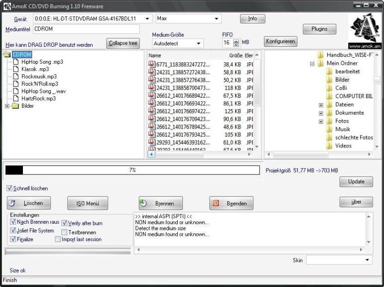Screenshot 1 - AmoK CD/DVD Burning
