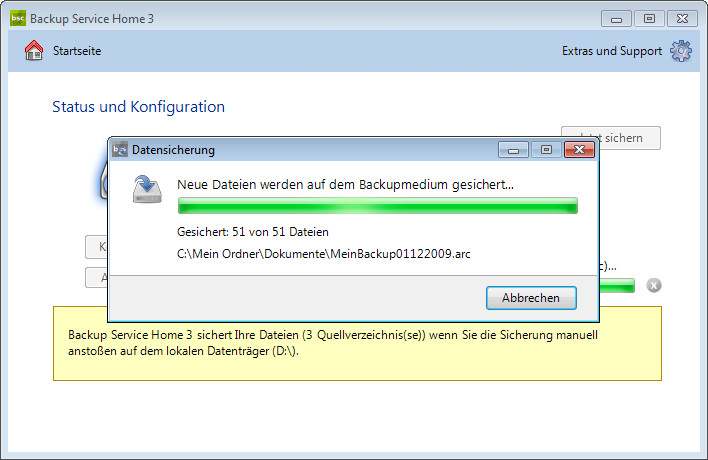 Screenshot 1 - Backup Service Home
