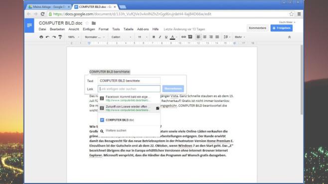 Google Docs: Texte, Tabellen & Präsentationen ©COMPUTER BILD