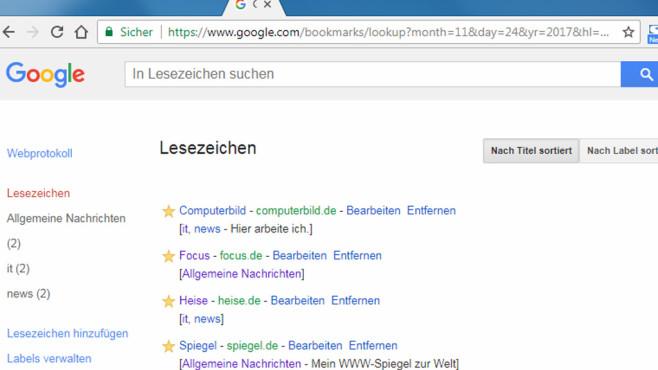 Google Lesezeichen: Lieblings-Webseiten verwalten ©COMPUTER BILD
