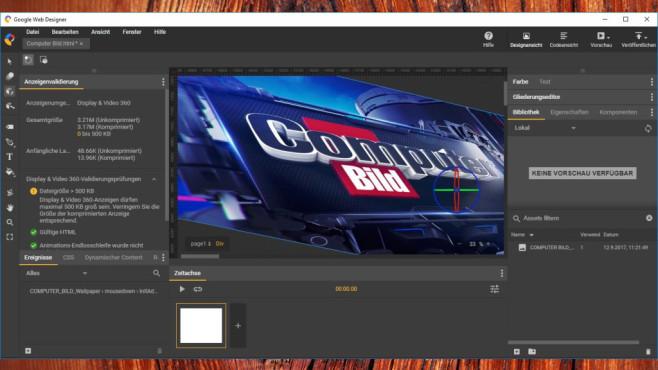 Google Web Designer: Webseiten oder Werbenanner gestalten ©COMPUTER BILD