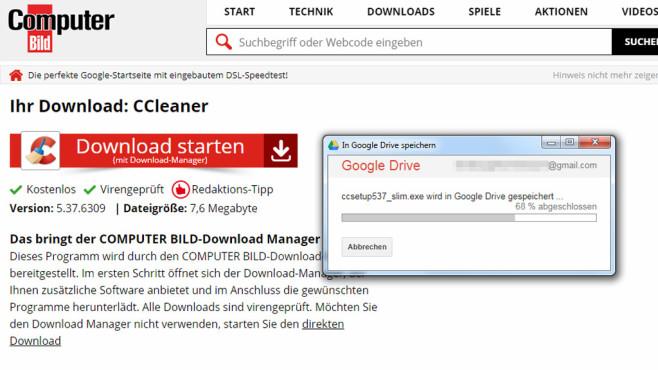 Per Chrome in Google Drive speichern ©COMPUTER BILD