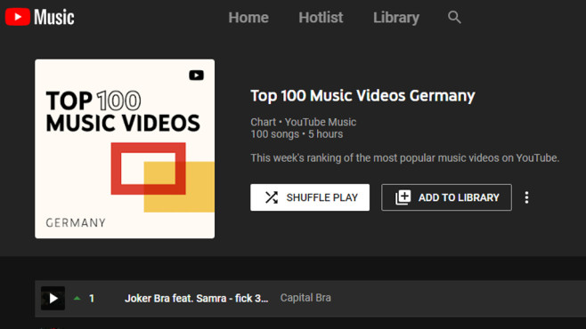 YouTube Music Webplayer: (Neue) Musik streamen © COMPUTER BILD