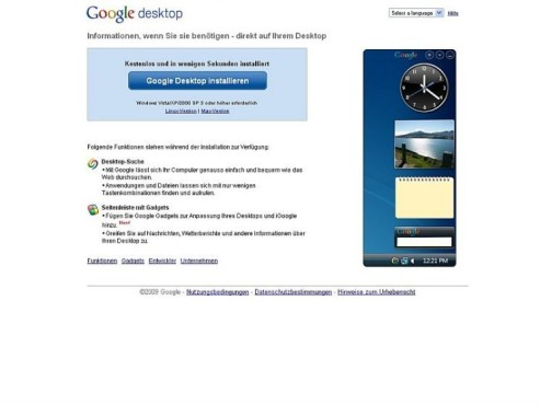 Screenshot: Google Desktop
