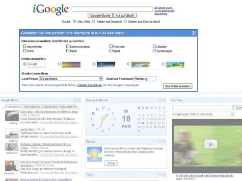 Screenshot: iGoogle