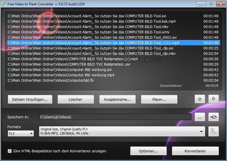 Screenshot 1 - Free Video to Flash Converter