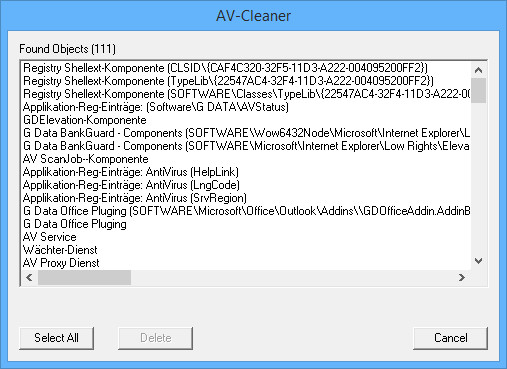 Screenshot 1 - G Data AVCleaner