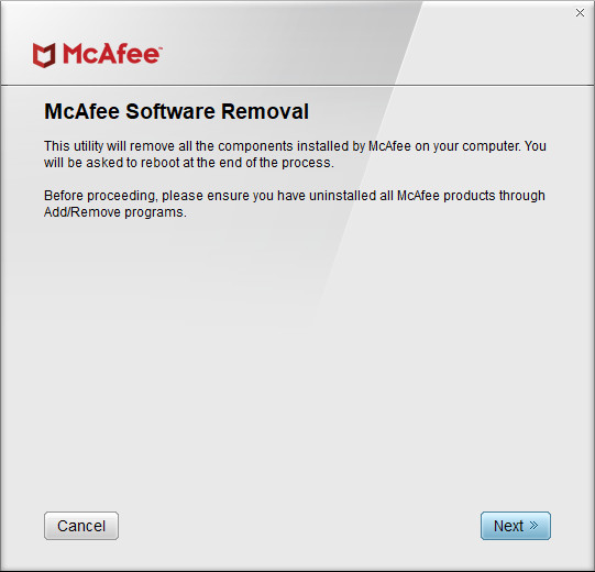 Screenshot 1 - McAfee Consumer Products Removal Tool
