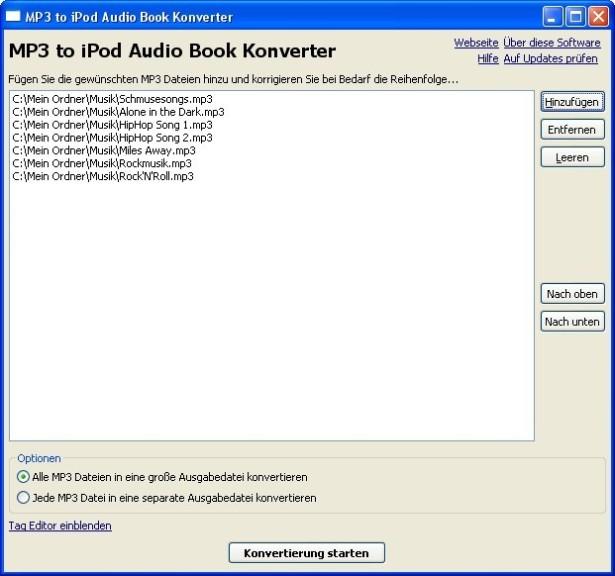Screenshot 1 - MP3 to iPod Audio Book Converter
