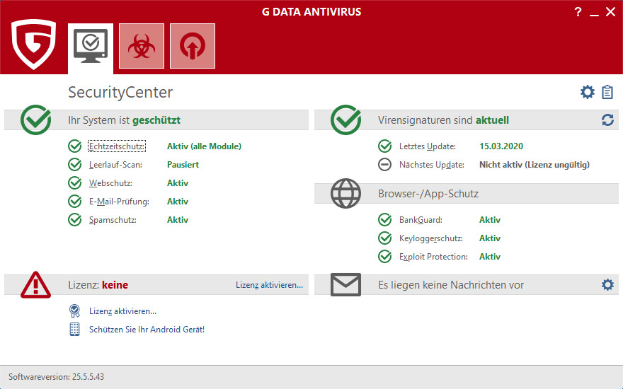 Screenshot 1 - G Data AntiVirus 2020