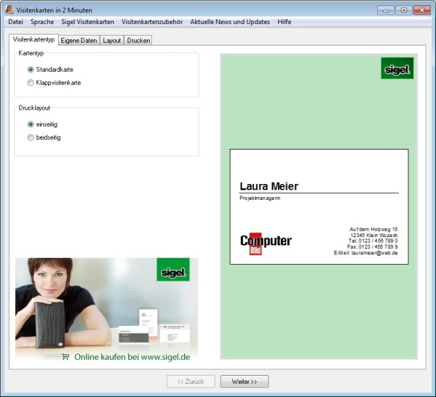 Screenshot 1 - Visitenkarten in 2 Minuten